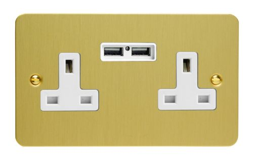 Varilight XFB5U2W Ultraflat Brushed Brass 2 Gang Double 13A Unswitched Plug Socket 2.1A USB